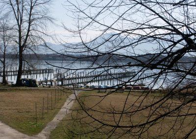 Blick auf den winterlichen See