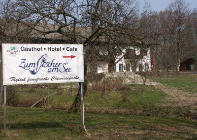 """Blick aufs Hotel-Gastof - Cafe """"Fischer am See"""""""