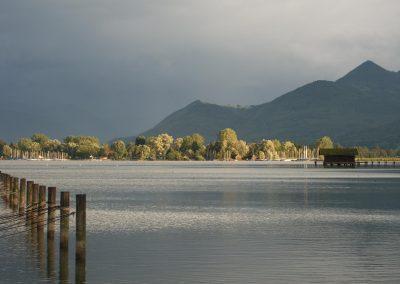"""Seeblick vom """"Fischer am See"""" in Richtung Bernau/Irschener Winkel"""