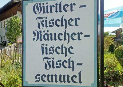 """Die Werbetafel am Biergarten des """"Gürtlerfischer"""""""